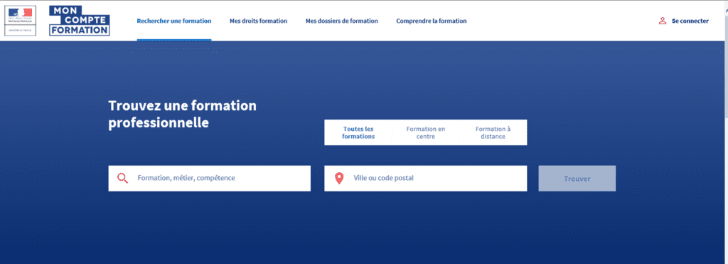 Page Accueil Mon Compte Formation