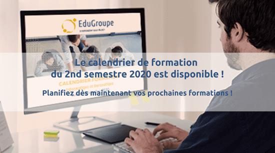 Calendrier des formations programmées sur le 2nd semestre 2020 (en présentiel ou à distance)